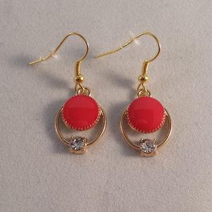 Gold Red Hoop Crystal Earrings Hypoallergenic Hks!